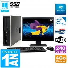 """PC HP Compaq Pro 6200 SFF Ecran 22"""" Intel G840 4Go 240 Go SSD Graveur DVD Wifi W7"""