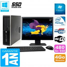 """PC HP Compaq Pro 6200 SFF Ecran 22"""" Intel G840 4Go 480 Go SSD Graveur DVD Wifi W7"""