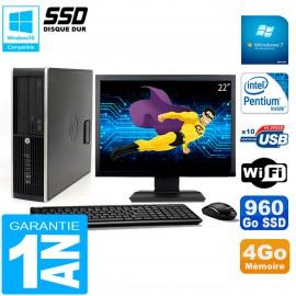 """PC HP Compaq Pro 6200 SFF Ecran 22"""" Intel G840 4Go 960 Go SSD Graveur DVD Wifi W7"""