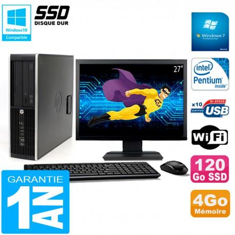 """PC HP Compaq Pro 6200 SFF Ecran 27"""" Intel G840 4Go 120 Go SSD Graveur DVD Wifi W7"""