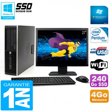 """PC HP Compaq Pro 6200 SFF Ecran 27"""" Intel G840 4Go 240 Go SSD Graveur DVD Wifi W7"""