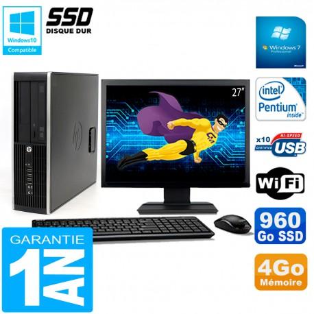 """PC HP Compaq Pro 6200 SFF Ecran 27"""" Intel G840 4Go 960 Go SSD Graveur DVD Wifi W7"""