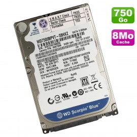 Disque Dur 750Go SATA 2.5 WD Scorpio Blue WD7500BPVT-08HXZT3 PC Portable 5400RPM