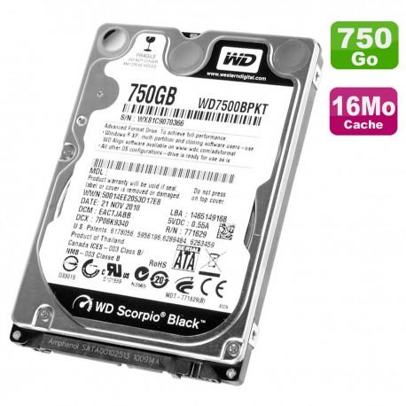 """Disque Dur 750Go SATA 2.5"""" WD Scorpio Black WD7500BPKT-22HPJT0 PC Portable 16Mo"""