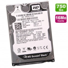 "Disque Dur 750Go SATA 2.5"" WD Scorpio Black WD7500BPKT-75PK4T0 0W6FN W6FN 16Mo"