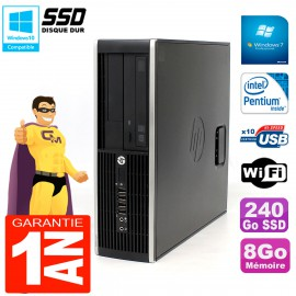 PC HP Compaq Pro 6200 SFF Intel G840 RAM 8Go 240 Go SSD Graveur DVD Wifi W7