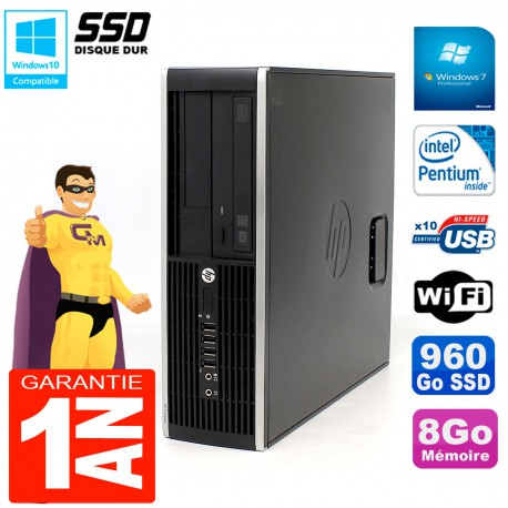 PC HP Compaq Pro 6200 SFF Intel G840 RAM 8Go 960 Go SSD Graveur DVD Wifi W7