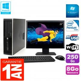 """PC HP Compaq Pro 6200 SFF Ecran 22"""" Intel G840 8Go 250Go Graveur DVD Wifi W7"""