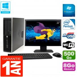 """PC HP Compaq Pro 6200 SFF Ecran 22"""" Intel G840 8Go 500Go Graveur DVD Wifi W7"""