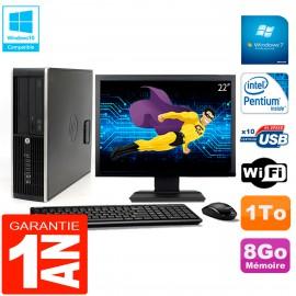 """PC HP Compaq Pro 6200 SFF Ecran 22"""" Intel G840 8Go 1To Graveur DVD Wifi W7"""