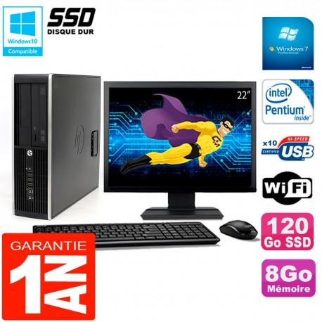 """PC HP Compaq Pro 6200 SFF Ecran 22"""" Intel G840 8Go 120 Go SSD Graveur DVD Wifi W7"""