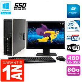"""PC HP Compaq Pro 6200 SFF Ecran 22"""" Intel G840 8Go 480 Go SSD Graveur DVD Wifi W7"""