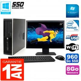 """PC HP Compaq Pro 6200 SFF Ecran 22"""" Intel G840 8Go 960 Go SSD Graveur DVD Wifi W7"""