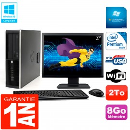 "PC HP Compaq Pro 6200 SFF Ecran 27"" Intel G840 8Go 2To Graveur DVD Wifi W7"