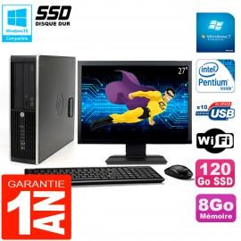"""PC HP Compaq Pro 6200 SFF Ecran 27"""" Intel G840 8Go 120 Go SSD Graveur DVD Wifi W7"""