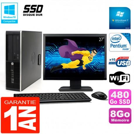 """PC HP Compaq Pro 6200 SFF Ecran 27"""" Intel G840 8Go 480 Go SSD Graveur DVD Wifi W7"""