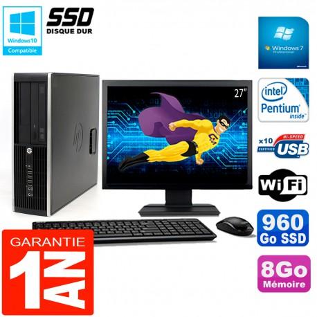 """PC HP Compaq Pro 6200 SFF Ecran 27"""" Intel G840 8Go 960 Go SSD Graveur DVD Wifi W7"""