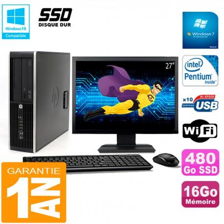 """PC HP Compaq Pro 6200 SFF Ecran 27"""" Intel G840 16Go 480 Go SSD Graveur Wifi W7"""