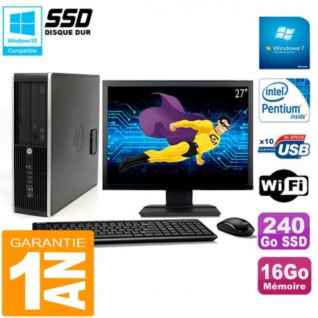 """PC HP Compaq Pro 6200 SFF Ecran 27"""" Intel G840 16Go 240 Go SSD Graveur Wifi W7"""