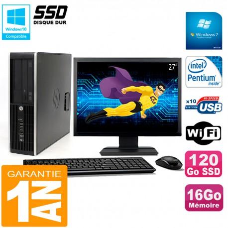 """PC HP Compaq Pro 6200 SFF Ecran 27"""" Intel G840 16Go 120 Go SSD Graveur Wifi W7"""