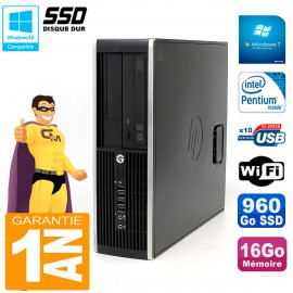 PC HP Compaq Pro 6200 SFF Intel G840 RAM 16Go 960 Go SSD Graveur Wifi W7