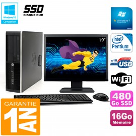 """PC HP Compaq Pro 6200 SFF Ecran 19"""" Intel G840 16Go 480 Go SSD Graveur Wifi W7"""