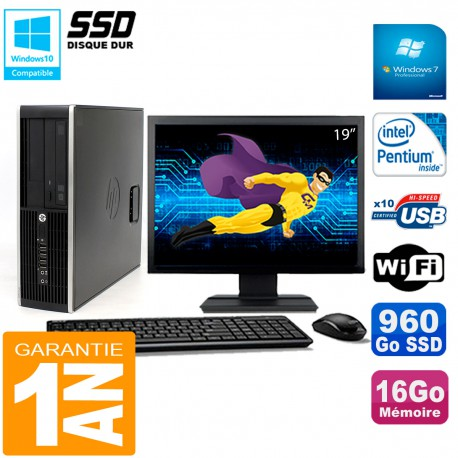 """PC HP Compaq Pro 6200 SFF Ecran 19"""" Intel G840 16Go 960 Go SSD Graveur Wifi W7"""
