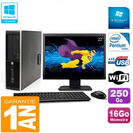 """PC HP Compaq Pro 6200 SFF Ecran 22"""" Intel G840 16Go 250Go Graveur Wifi W7"""