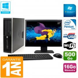 """PC HP Compaq Pro 6200 SFF Ecran 22"""" Intel G840 16Go 500Go Graveur Wifi W7"""