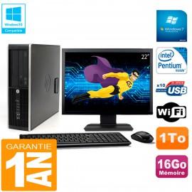 """PC HP Compaq Pro 6200 SFF Ecran 22"""" Intel G840 16Go 1To Graveur Wifi W7"""
