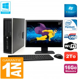 "PC HP Compaq Pro 6200 SFF Ecran 22"" Intel G840 16Go 2To Graveur Wifi W7"