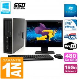 """PC HP Compaq Pro 6200 SFF Ecran 22"""" Intel G840 16Go 480 Go SSD Graveur Wifi W7"""