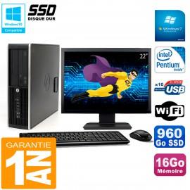 """PC HP Compaq Pro 6200 SFF Ecran 22"""" Intel G840 16Go 960 Go SSD Graveur Wifi W7"""