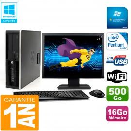 """PC HP Compaq Pro 6200 SFF Ecran 27"""" Intel G840 16Go 500Go Graveur Wifi W7"""