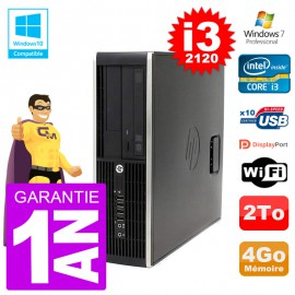 PC HP 6200 SFF Intel i3-2120 RAM 4Go Disque 2To Graveur DVD Wifi W7
