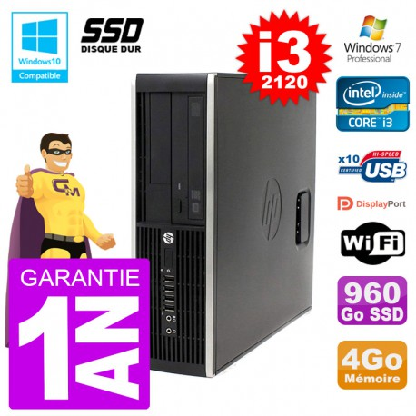 PC HP 6200 SFF Intel i3-2120 RAM 4Go SSD 960Go Graveur DVD Wifi W7
