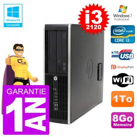 PC HP 6200 SFF Intel i3-2120 RAM 8Go Disque 1To Graveur DVD Wifi W7
