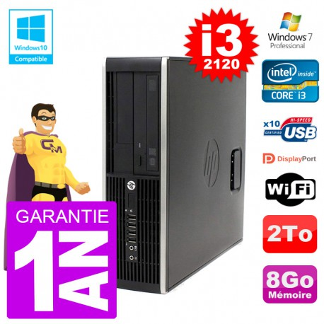 PC HP 6200 SFF Intel i3-2120 RAM 8Go Disque 2To Graveur DVD Wifi W7