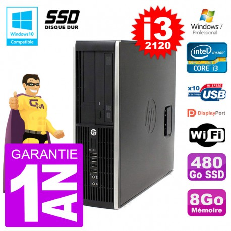 PC HP 6200 SFF Intel i3-2120 RAM 8Go SSD 480Go Graveur DVD Wifi W7