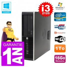PC HP 6200 SFF Intel i3-2120 RAM 16Go Disque 1To Graveur DVD Wifi W7
