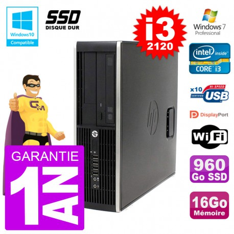 PC HP 6200 SFF Intel i3-2120 RAM 16Go SSD 960Go Graveur DVD Wifi W7