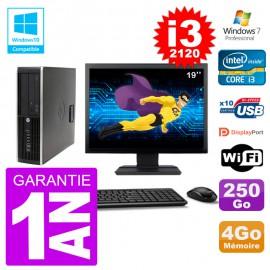 "PC HP 6200 SFF Ecran 19"" Intel i3-2120 RAM 4Go Disque 250Go Graveur DVD Wifi W7"