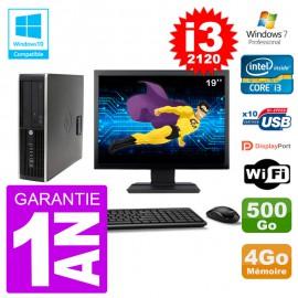 "PC HP 6200 SFF Ecran 19"" Intel i3-2120 RAM 4Go Disque 500Go Graveur DVD Wifi W7"