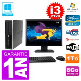"PC HP 6200 SFF Ecran 19"" Intel i3-2120 RAM 8Go Disque 1To Graveur DVD Wifi W7"