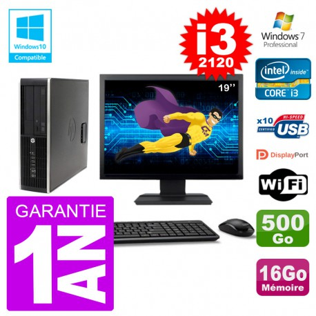 "PC HP 6200 SFF Ecran 19"" Intel i3-2120 RAM 16Go Disque 500Go Graveur DVD Wifi W7"