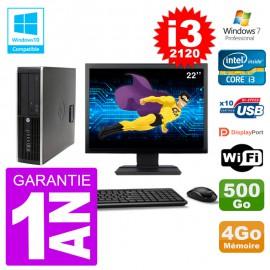 "PC HP 6200 SFF Ecran 22"" Intel i3-2120 RAM 4Go Disque 500Go Graveur DVD Wifi W7"