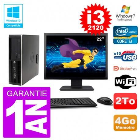 "PC HP 6200 SFF Ecran 22"" Intel i3-2120 RAM 4Go Disque 2To Graveur DVD Wifi W7"