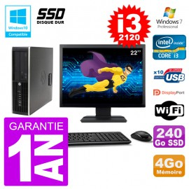 "PC HP 6200 SFF Ecran 22"" Intel i3-2120 RAM 4Go SSD 240Go Graveur DVD Wifi W7"