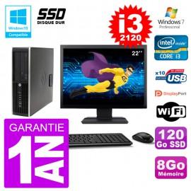 "PC HP 6200 SFF Ecran 22"" Intel i3-2120 RAM 8Go SSD 120Go Graveur DVD Wifi W7"
