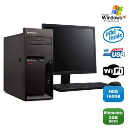 Lot PC Lenovo M57 6075-CTO Pentium D 1.80Ghz 2Go 160Go WIFI XP Pro + Ecran 19""